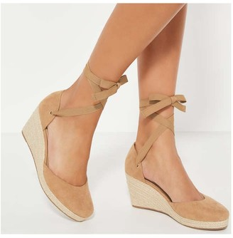 Joe Fresh Women's Ankle Tie Wedges, Tan (Size 6)