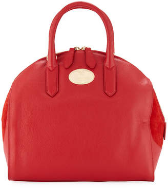 Roberto Cavalli Suede-Detail Leather Satchel Bag, Red
