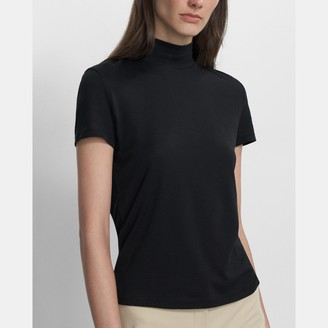 Theory Tiny Mock Neck Tee in Cotton