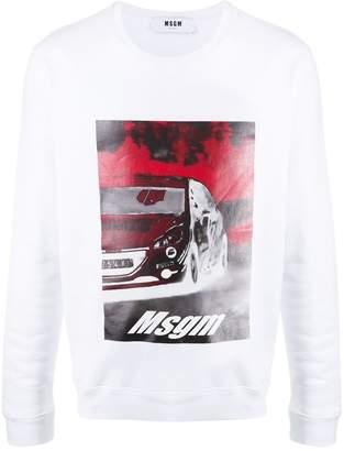 MSGM car print crew neck sweater