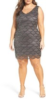 Pisarro Nights Plus Size Women's Fan Motif Embellished Sheath Dress