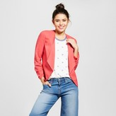 XOXO Women's Brushed Linen Ruched Sleeve Blazer Jacket Juniors') Pink