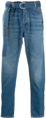 Off-White industrial belt slim fit tapered jeans