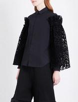 Noir Kei Ninomiya Leopard-flocked tulle-sleeve cotton-poplin shirt