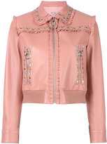 Miu Miu studded frilled jacket - women - Lamb Skin/Polyester - 38