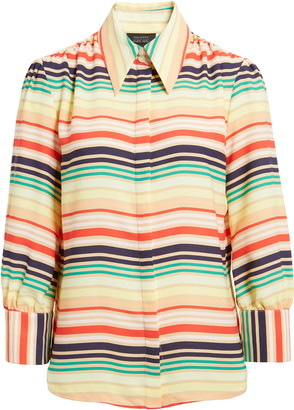 Halogen x Atlantic-Pacific Print Blouson Sleeve Blouse