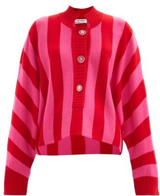 ATTICO Half-button Striped Merino-wool Sweater - Pink Stripe