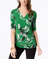 Alfani Printed Faux-Wrap Top, Created for Macy's