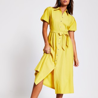 River Island Womens Yellow puff sleeve midi shirt dress