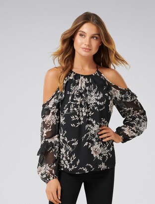 Ever New Rosa Ruffle Flock Cold Shoulder Top