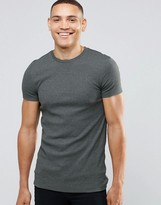 Asos Extreme Muscle T-Shirt With Crew Neck In Rib In Green Marl