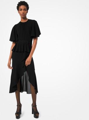 Michael Kors Silk-Georgette Belted Ruffle Dress