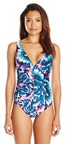 Calvin Klein Women's Wild Blooms Maillot One Piece Swimsuit with Removable Soft Cups
