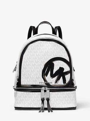 MICHAEL Michael Kors MK Rhea Medium Logo Backpack - White Combo - Michael Kors