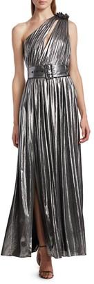 retrofete Andrea Belted One-Shoulder Metallic Maxi Dress