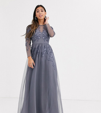 Asos DESIGN Petite long sleeve maxi dress in embroidered mesh-Blue