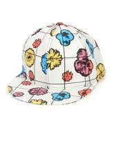 Moschino Floral Leather Baseball Cap, White/Multicolor