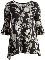 Glam Black & Green Floral Ruffle-Sleeve Sidetail Tunic - Plus