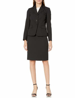 Le Suit LeSuit Women's 3 Button Notch Collar Diamond Jacquard Skirt Suit