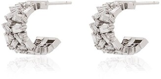 Suzanne Kalan 18kt White Gold Baguette-Cut Diamond Hoop Earrings