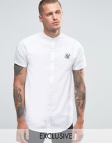 SikSilk Shirt With Grandad Collar in Skinny Fit