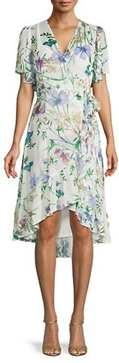 Calvin Klein Floral High-Low Faux Wrap Dress