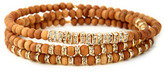 Gigi Chic Hippie Scattered Crystal And Wood Beaded Bracelet Set