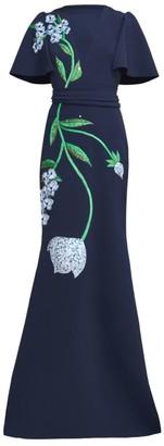 Lela Rose Garden Embellished Flutter-Sleeve Belted Gown
