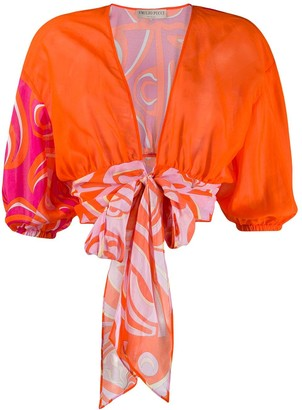 Emilio Pucci Abstract Print Tie Blouse