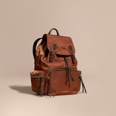 Burberry The Large Rucksack in Technical Nylon and Snakeskin