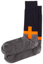 Jonathan Adler Plus Sign Knit Socks, Orange/Navy/Charcoal