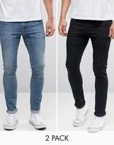 Asos Super Skinny Jeans 2 Pack In Black & Mid Blue SAVE