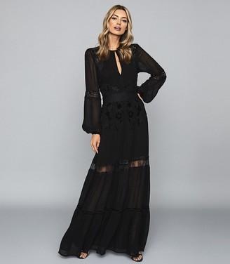 Reiss Francesca - Open Back Lace Maxi Dress in Black