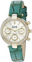 Burgi Women's BUR129GN Diamond & Crystal Accented Multifunction Yellow Gold and Turquoise Leather Strap Watch