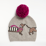 John Lewis Sausage Dog Wool Blend Pom Pom Beanie Hat, Grey/Multi