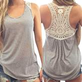 Women's Blouse,Laimeng,Fashion Woman Sleeveless V-Neck Candy Vest Loose Tank Tops T-shirt (L, )
