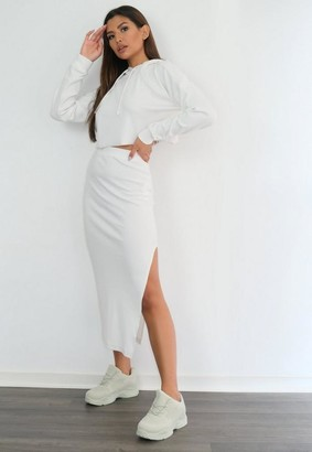 Missguided Cream Rib Midi Skirt
