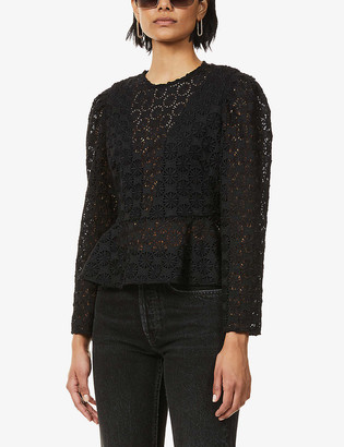 Sandro Feley ruffle-trimmed lace top