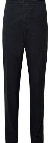 Ermenegildo Zegna Midnight-Blue Slim-Fit Stretch-Cotton Poplin Suit Trousers