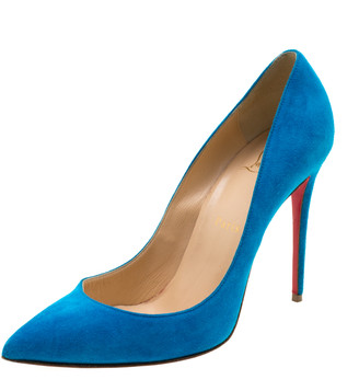 Christian Louboutin Blue Suede Pointed Toe Pumps Size 39