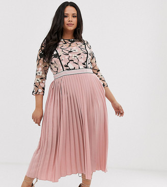 Little Mistress Plus lace embroidered top 3/4 sleeve midi dress with pleated skirt in rose