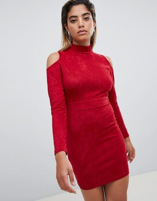 AX Paris Cold Shoulder Long Sleeve Bodycon Dress-Red
