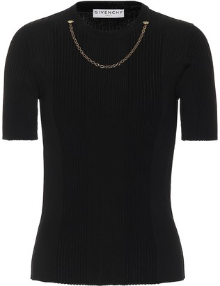 Givenchy Embellished ribbed-knit top
