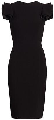 Halston Ruffle Slim-Fit Dress