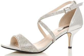 Quiz Silver Shimmer Diamante Low Heel Sandals