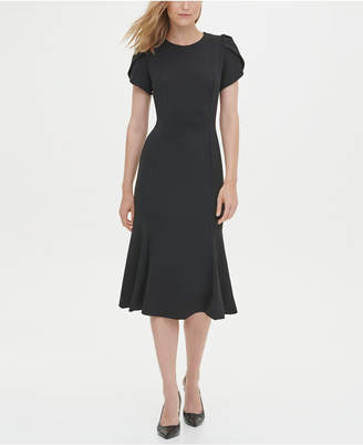 Calvin Klein Short Sleeve Fit & Flare Dress