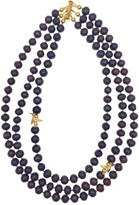 Farra Round Purple Freshwater Pearls Triple Strands Necklace
