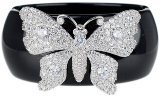 Cz By Kenneth Jay Lane Rhodium Plated CZ Butterfly Resin Bracelet