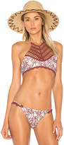 MinkPink Feather Palm Halter Top in Mauve. - size L (also in XS)