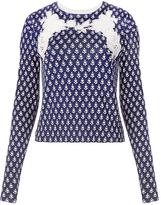 Diane von Furstenberg Raleigh Lace Cutout Printed Sweater